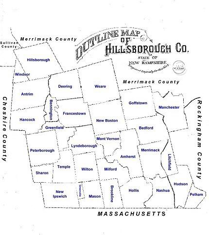 Map of Hillsborough County nh Map of Hillsborough County