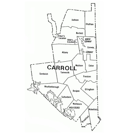 Map of Carroll County NH showing townships