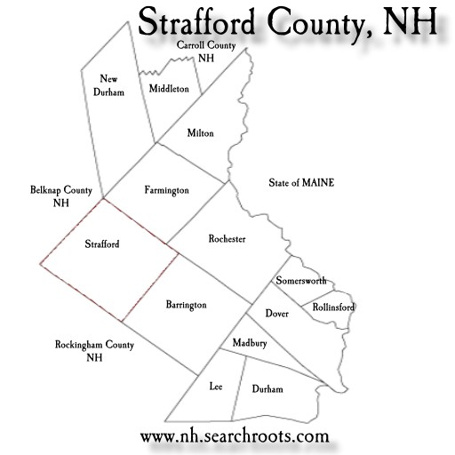 Map of Strafford Co NH