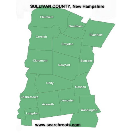 Map of Sullivan Co NH showing towns